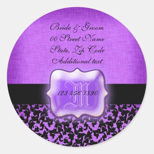 "Purple black ""new address"" wedding floral damask classic round sticker"
