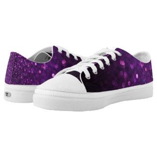 Purple Black Ombre Glitter Low-Top Sneakers