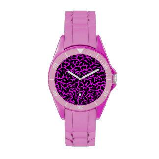 purple black on pink sporty wristband watch