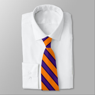 Purple black orange stripe tie