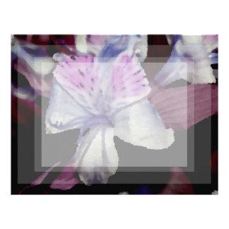 purple black orchid colorized flower letterhead