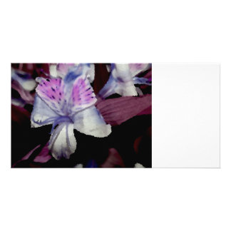 purple black orchid colorized flower photo cards