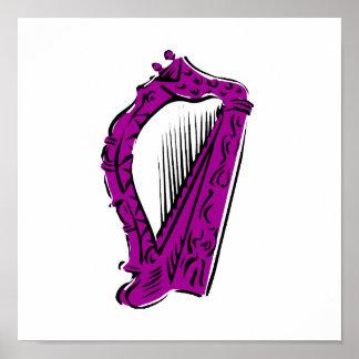 purple black ornate harp music design.png poster