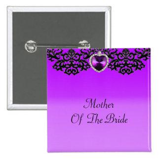 Purple & Black Ornate Heart Pendant Wedding 2 Inch Square Button
