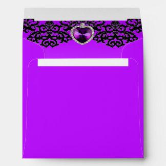 Purple & Black Ornate Heart Pendant Wedding Envelope