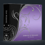 """Purple Black Ornate Silver Scrolls Photo Album Binder<br><div class=""""desc"""">Purple and Black with Ornate Silver Scrolls Photo Album. Personalize with your own information. If you need to move the text,  or change the size,  font,  or color,  click Customize It. Please note: This is a flat,  graphic image,  it is not raised</div>"""