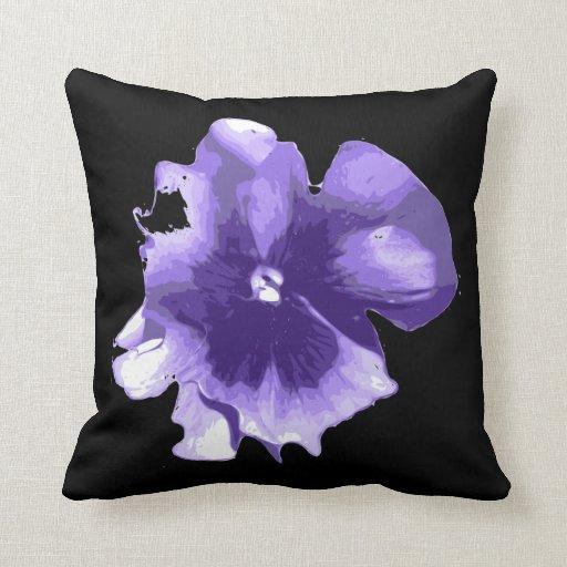 Purple black pansy Throw pillow Zazzle