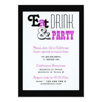"""Purple black party """"eat drink and"""" stylish 5x7 paper invitation card"""