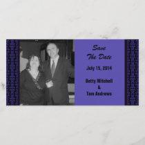 Purple Black Pattern Wedding Save The Date