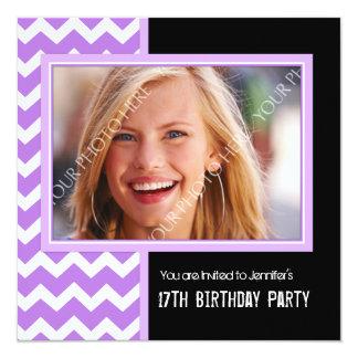 Purple Black Photo 17th Birthday Party Invitations