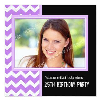 Purple Black Photo 25th Birthday Party Invitations