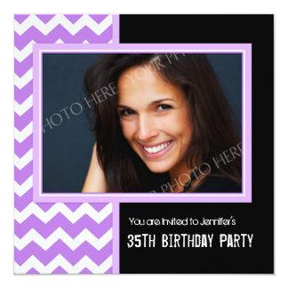 Purple Black Photo 35th Birthday Party Invitations