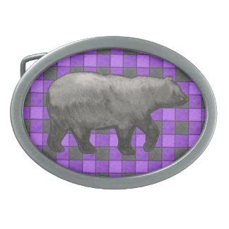 Purple Black Plaid Check Belt Buckle with Bear