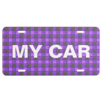 Purple Black Plaid Check License Plate