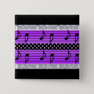 Purple & Black Polka Dot Diamonds & Musical Notes Button