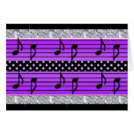 Purple & Black Polka Dot Diamonds & Musical Notes Cards