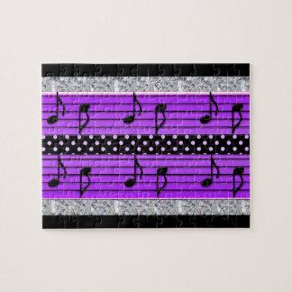 Purple & Black Polka Dot Diamonds & Musical Notes Puzzles