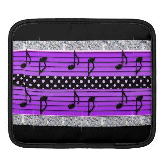 Purple & Black Polka Dot Diamonds & Musical Notes Sleeve For iPads