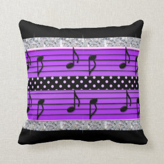 Purple & Black Polka Dot Diamonds & Musical Notes Throw Pillow