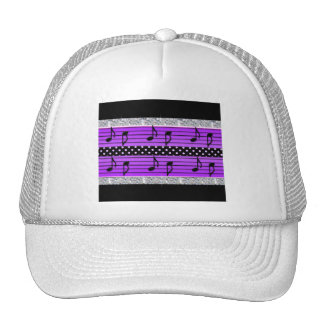 Purple & Black Polka Dot Diamonds & Musical Notes Trucker Hat