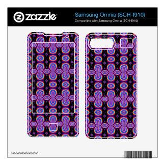 Purple Black Pop Art Pattern Skins For Samsung Omnia
