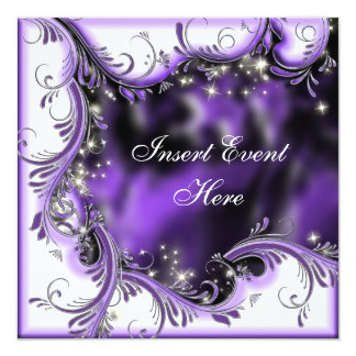 """Purple black quinceanera """"sweet 16"""" party card"""