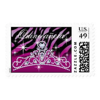 Purple Black Quinceanera Zebra Tiara Postage