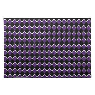 Purple & Black Retro Diamond 1 Placemat Cloth Place Mat