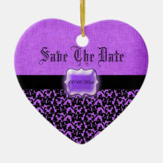 "Purple black ""save the date"" wedding damask christmas ornaments"