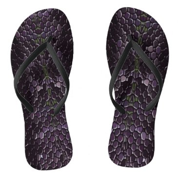 Beach Themed Purple/Black Scale Flip Flops