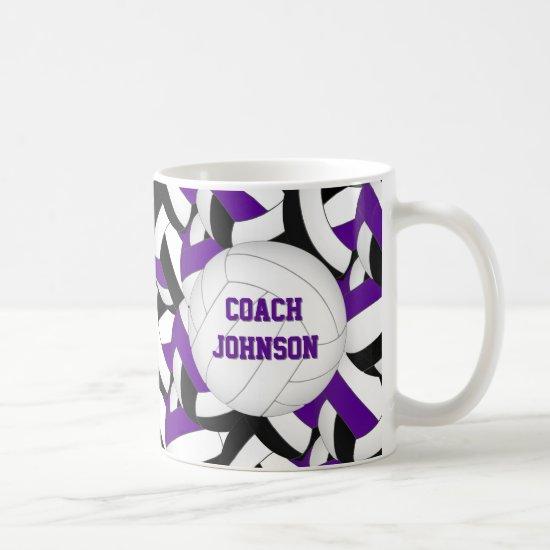purple black school colors volleyball coach gift coffee mug