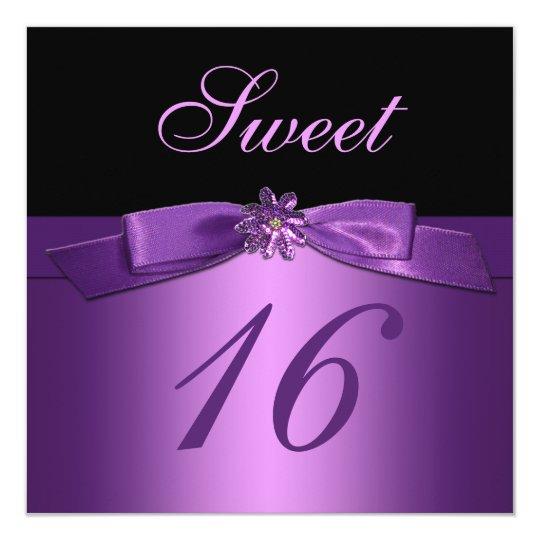 Purple Black Sequin Flower Bow (PRINTED) Sweet 16 Card