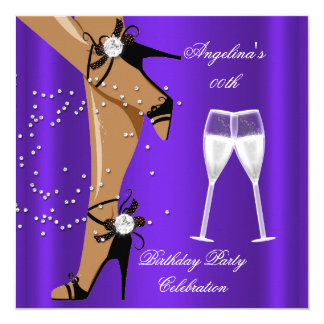 Purple Black Shoes Champagne Glass Birthday Party Card