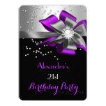 Purple Black Silver Bow Pearl Birthday Party 5x7 Paper Invitation Card
