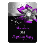 Purple Black Silver Bow Pearl Birthday Party 5x7 Paper Invitation Card