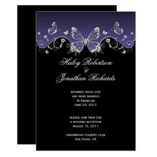 Black Purple Silver Wedding Invitations | Zazzle