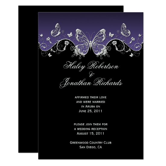 Purple Black Silver Butterflies Post Wedding Invitation