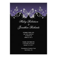 Purple Black Silver Butterflies Post Wedding Announcement (<em>$2.15</em>)