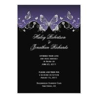 Purple Black Silver Butterflies Post Wedding 5&quot; X 7&quot; Invitation Card (<em>$2.27</em>)