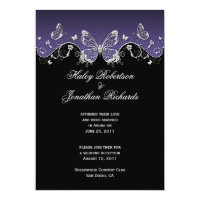 Purple Black Silver Butterflies Post Wedding Announcement (<em>$2.27</em>)