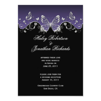 Purple Black Silver Butterflies Post Wedding Announcement