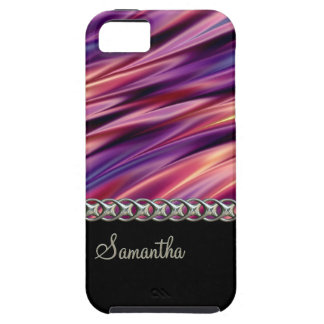 Purple, black, silver chain, monogram iPhone 5 covers