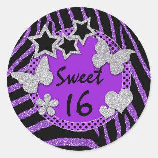 Purple Black Silver FAUX Glitter Sweet 16 Sticker