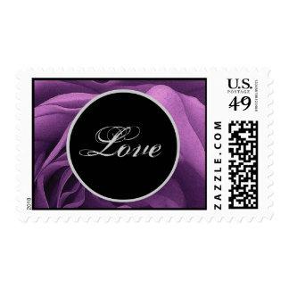 PURPLE BLACK SILVER Love Wedding Rose Stamp
