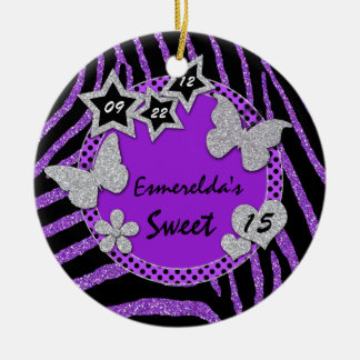 Purple Black Silver Zebra Sweet 15 Photo Ornament