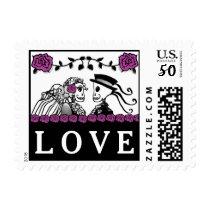 Purple & Black Skeletons Halloween Wedding LOVE Postage