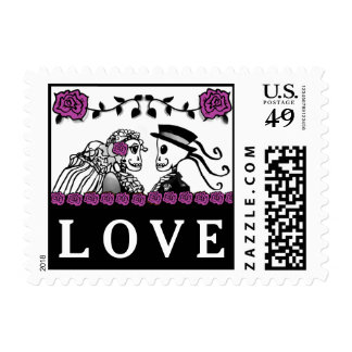 Purple & Black Skeletons Halloween Wedding LOVE Postage