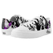 Purple Black Skull Metal Low-Top Sneakers