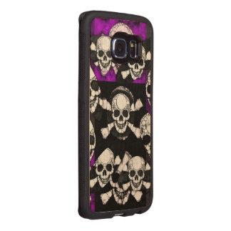 Purple Black Skull Metal Wood Phone Case