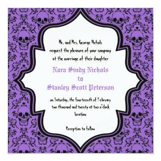 Purple black skulls damask Halloween wedding Card